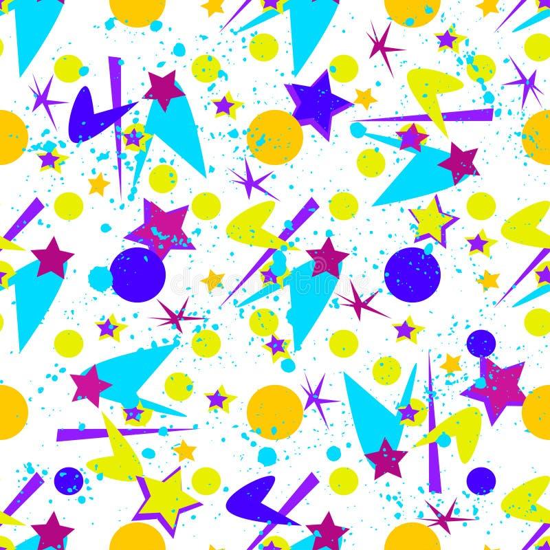Abstrakcjonistyczny bezszwowy wzór dla dziewczyn, chłopiec, odziewa Kreatywnie tło z kropkami, geometrycznych postaci Śmieszna ta royalty ilustracja