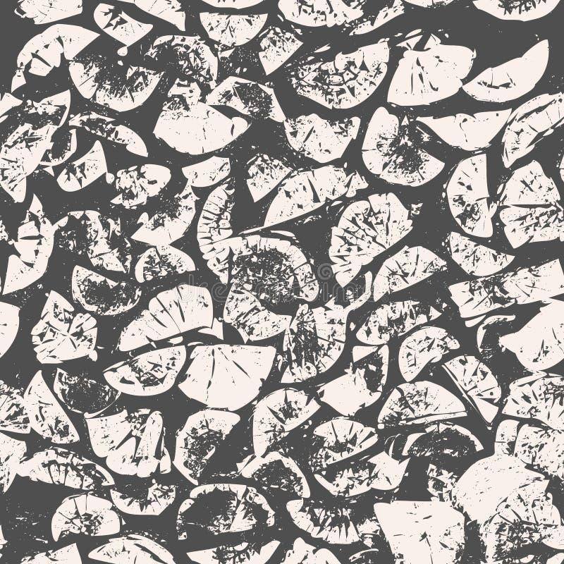 Abstrakcjonistyczny bezszwowy wzór, grunge drewniany tło, łupki, drzewa cięcia, szarość i beżu, tekstura wektor ilustracja wektor