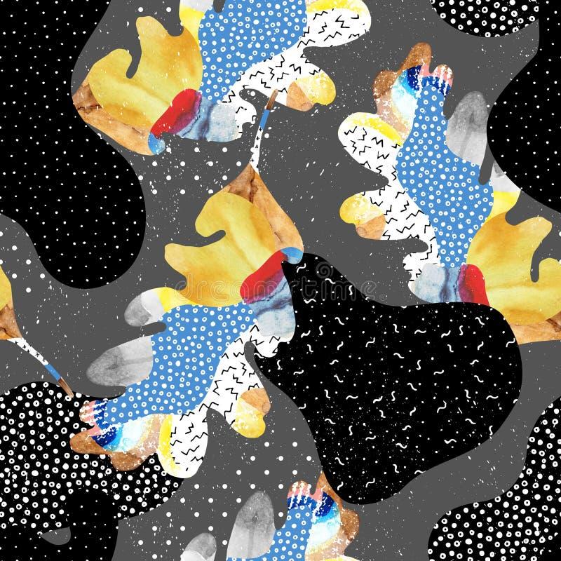 Abstrakcjonistyczny bezszwowy wzór jesień liść, fluid kształtuje, minimalny grunge element, doodle royalty ilustracja
