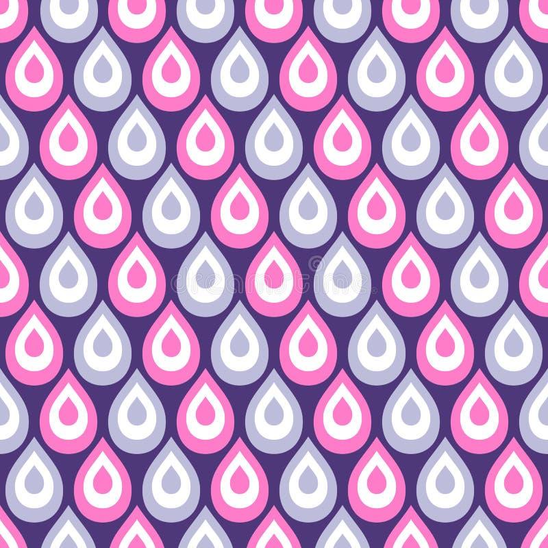 Abstrakcjonistyczny bezszwowy wzór pawi piórka kolor krople royalty ilustracja