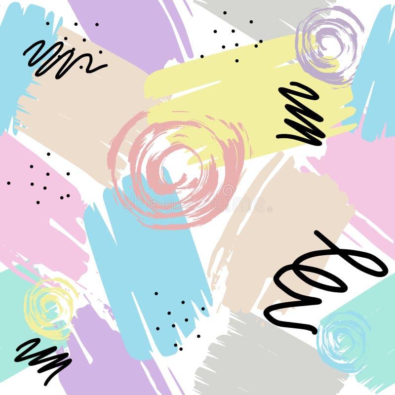 Abstrakcjonistyczny bezszwowy wzór w Memphis stylu ilustracja wektor