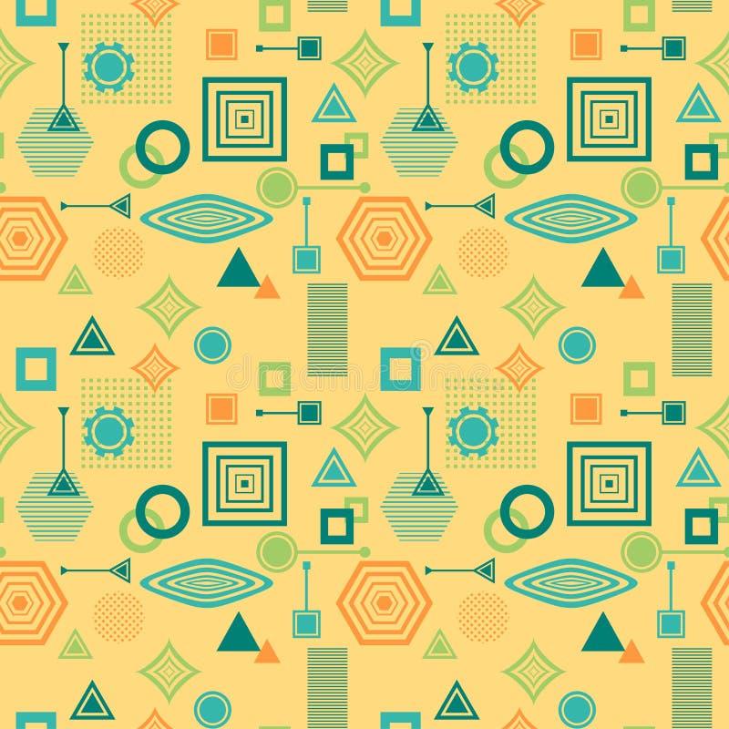 Abstrakcjonistyczny bezszwowy wzór w postmodern Memphis Stylowej błękitnej zieleni na żółtym beżu ilustracja wektor