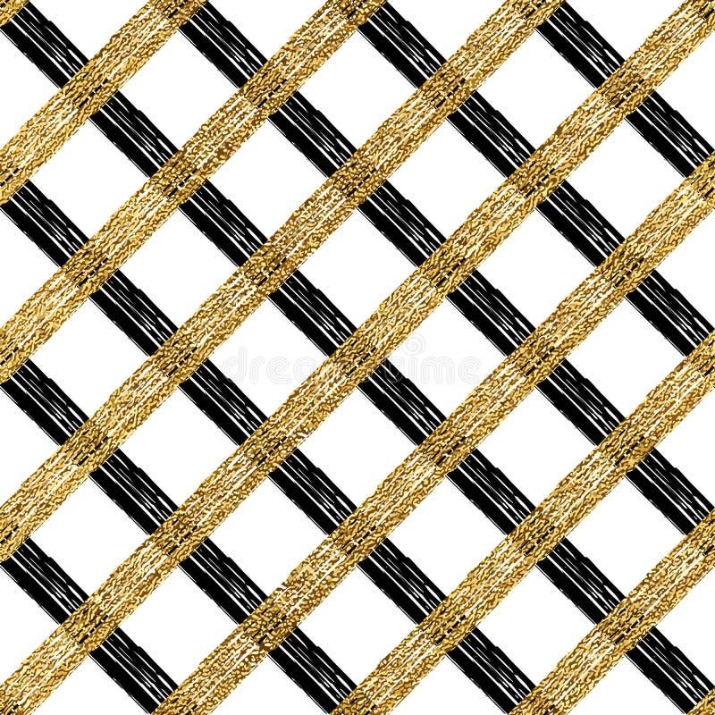 Abstrakcjonistyczny bezszwowy wzór złota srebra klatka royalty ilustracja