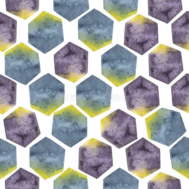 Abstrakcjonistyczny bezszwowy wzór z akwarela sześciokątami w kolorze żółtym, purpurach i błękitów kolorach, royalty ilustracja