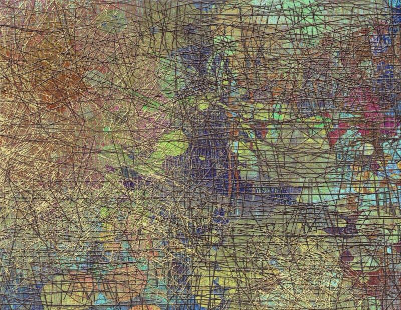 Abstrakcjonistyczny bezszwowy wzór z chaotyczną linią i różnymi kolorów elementami ilustracja wektor
