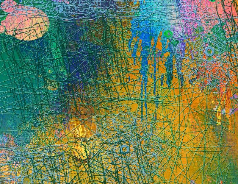 Abstrakcjonistyczny bezszwowy wzór z chaotyczną linią i różnymi kolorów elementami royalty ilustracja