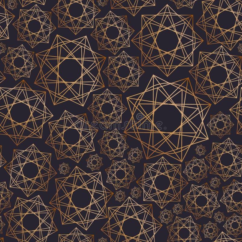 Abstrakcjonistyczny bezszwowy wzór z geometrycznymi kształtami rysującymi z złotymi konturowymi liniami na czarnym tle _ ilustracja wektor
