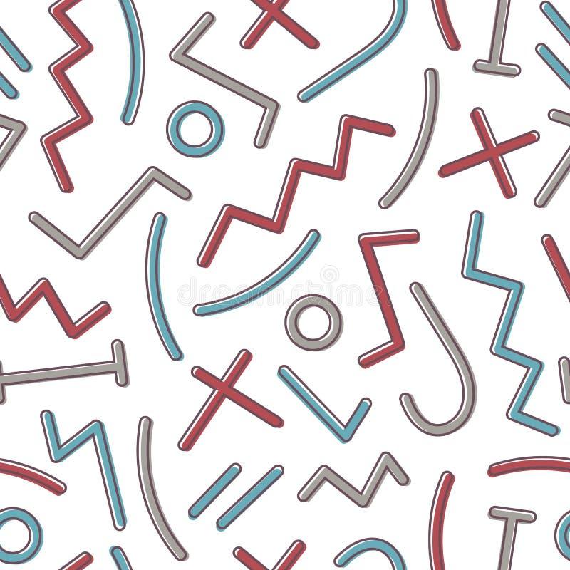 Abstrakcjonistyczny bezszwowy wzór z kolorowymi geometrycznymi kształtami i liniami na białym tle Nowożytna wektorowa ilustracja  royalty ilustracja