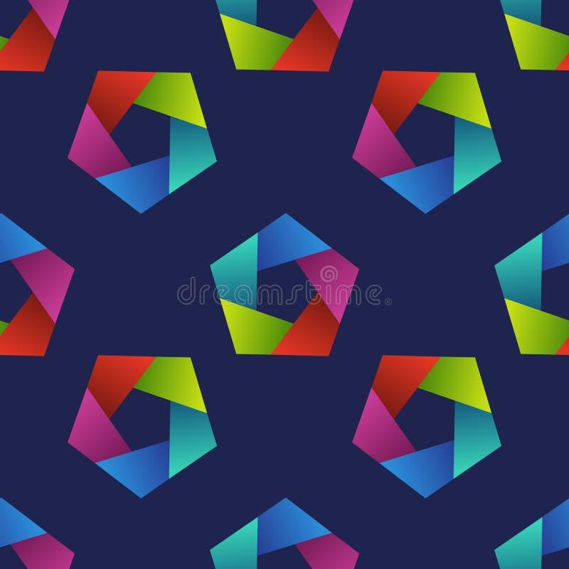 Abstrakcjonistyczny bezszwowy wzór z kolorowymi pentagonami royalty ilustracja