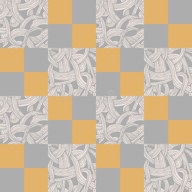 Abstrakcjonistyczny bezszwowy wzór z kwadratami i pociągany ręcznie kawałkami taśmy royalty ilustracja