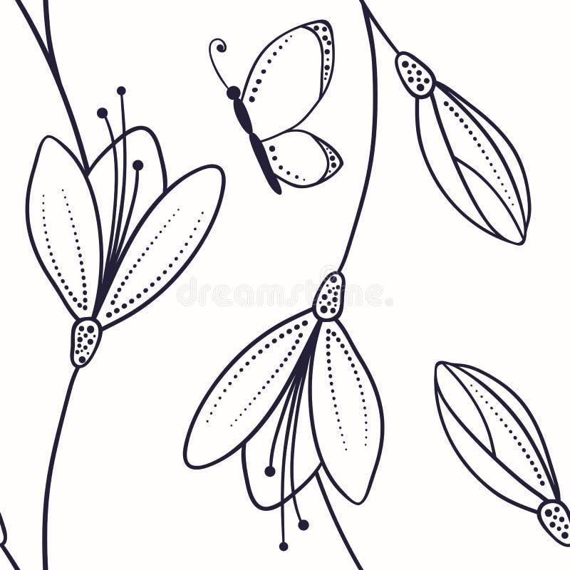 Abstrakcjonistyczny bezszwowy wzór z kwiatami i motyl w nakreśleniu projektujemy ilustracja wektor