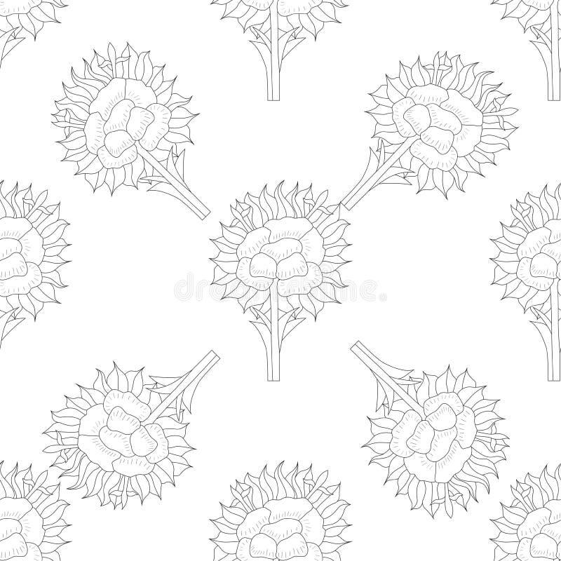 Abstrakcjonistyczny Bezszwowy wzór z kwiecistym tłem royalty ilustracja