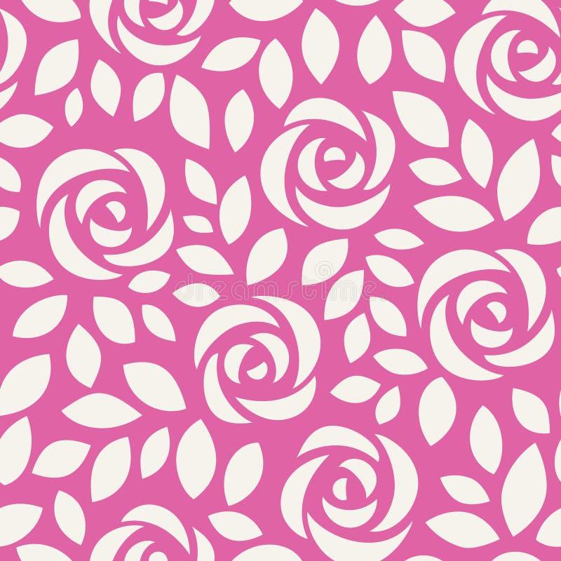 Abstrakcjonistyczny bezszwowy wzór z różami Kwiecisty tło z ślicznymi kwiatami i liśćmi ilustracji