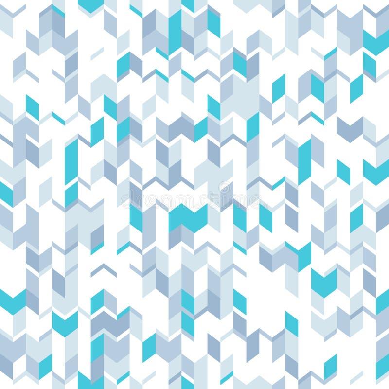Abstrakcjonistyczny bezszwowy wzór z szarymi i błękitnymi graniastymi elementami Technologiczny styl ilustracja wektor