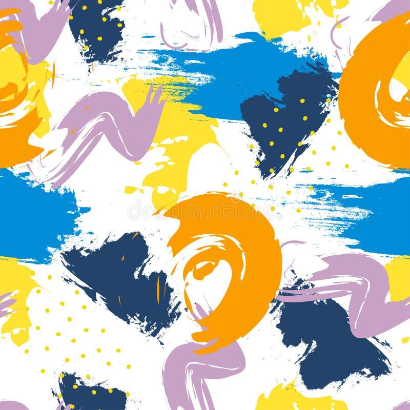 Abstrakcjonistyczny bezszwowy wzór z szczotkarskimi uderzeniami w Memphis stylu ilustracji