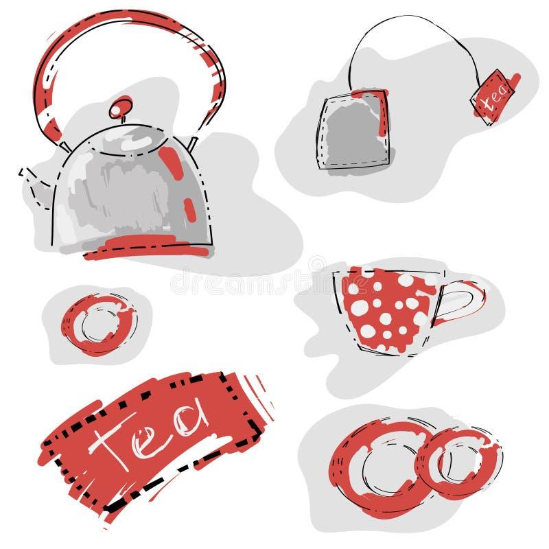 Abstrakcjonistyczny bezszwowy wzór z teapot i filiżanką. royalty ilustracja