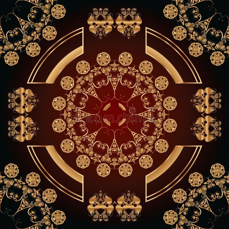 Abstrakcjonistyczny bezszwowy wzór z złotymi kwiecistymi ornamentami royalty ilustracja