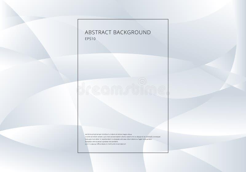 Abstrakcjonistyczny biały i szary gradientowy kolor krzywy tło Technologia nowożytny futurystyczny styl royalty ilustracja