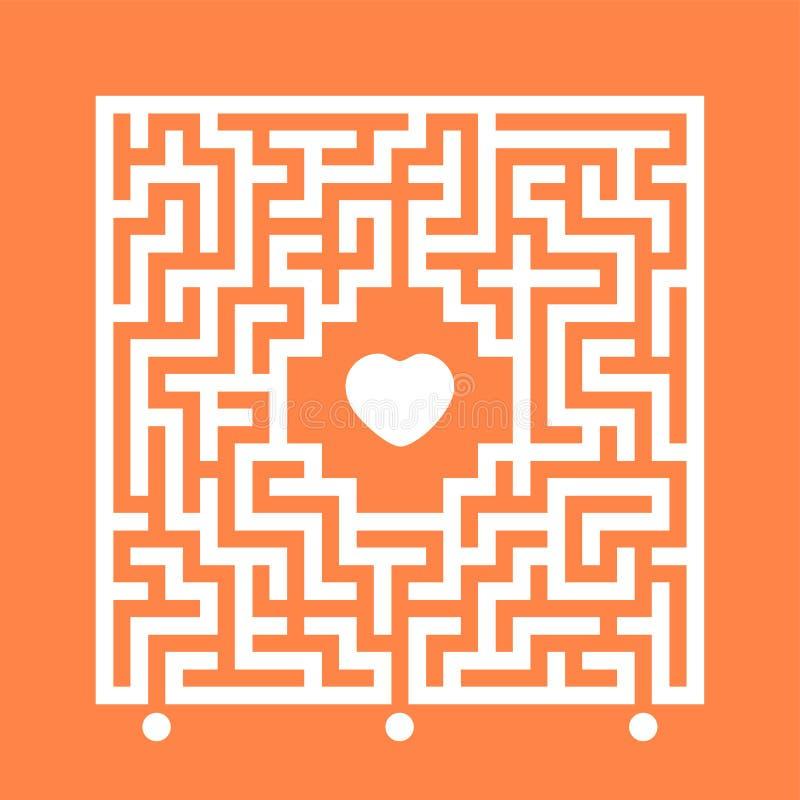 Abstrakcjonistyczny białego kwadrata labirynt Znajduje prawą ścieżkę serce Labitynt zagadka Miłości rewizi pojęcie Płaska wektoro ilustracja wektor