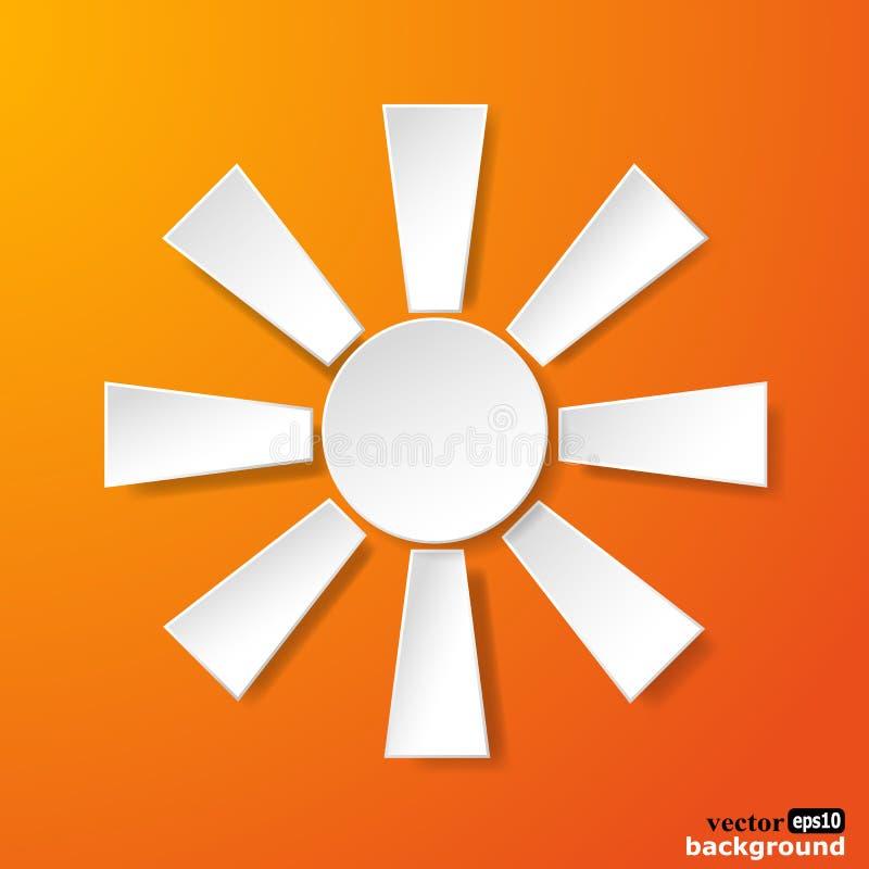 Abstrakcjonistyczny białego papieru słońce na pomarańczowym tle royalty ilustracja