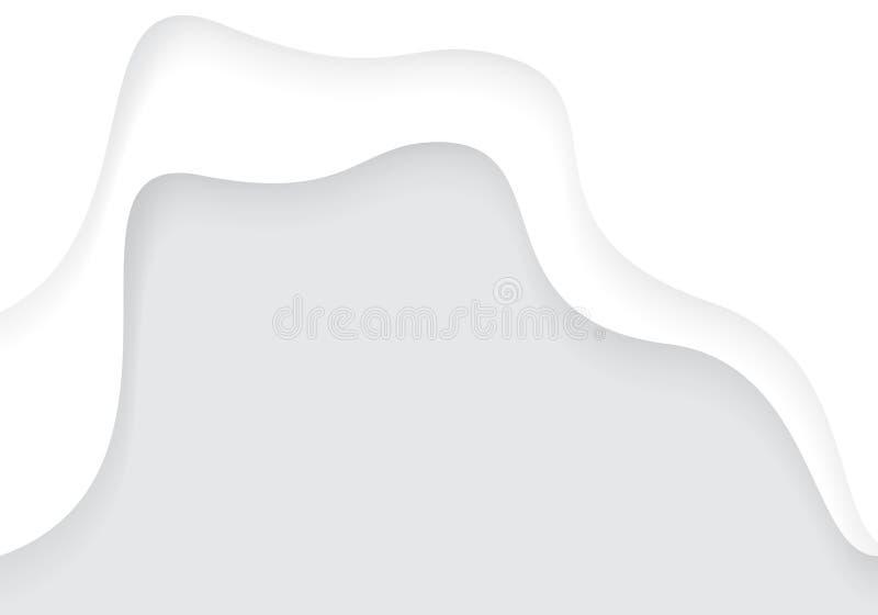 Abstrakcjonistyczny białej księgi cięcia krzywy nasunięcie z popielatym pustym astronautycznego projekta tła nowożytnym futurysty royalty ilustracja