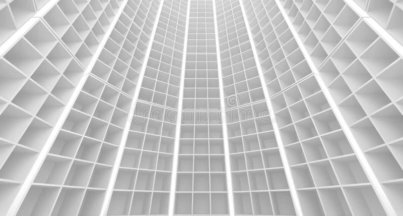 Abstrakcjonistyczny biały architektury wnętrze ilustracja wektor
