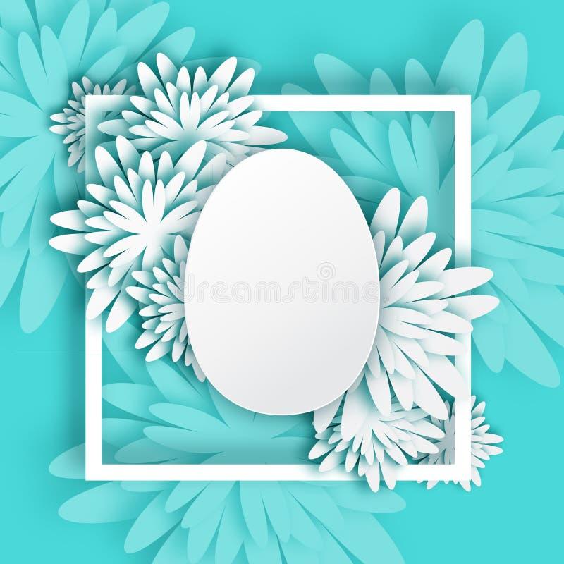 Abstrakcjonistyczny Biały Błękitny kartka z pozdrowieniami wiosny Wielkanocny jajko - Szczęśliwy Wielkanocny dzień - ilustracja wektor