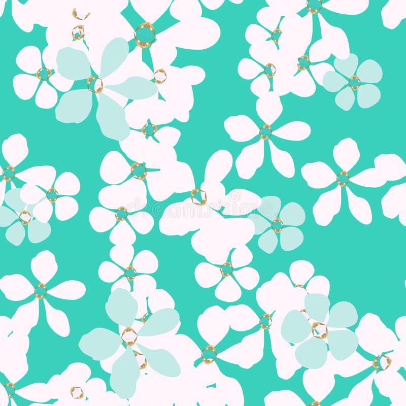 Abstrakcjonistyczny biały i błękit kwitniemy z złocistym sednem na turkusowym tle ilustracja wektor