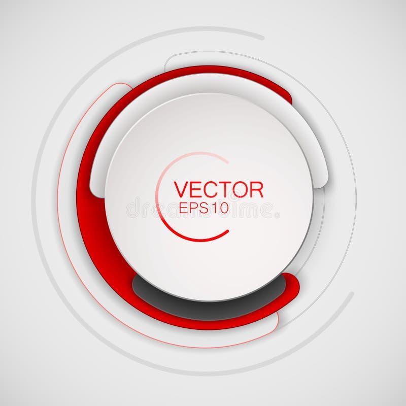 Abstrakcjonistyczny biały i czerwony okrąg dla sztandaru projekta Kółkowy sztandar dla reklam lub druku Set barwioni punkty ilustracji