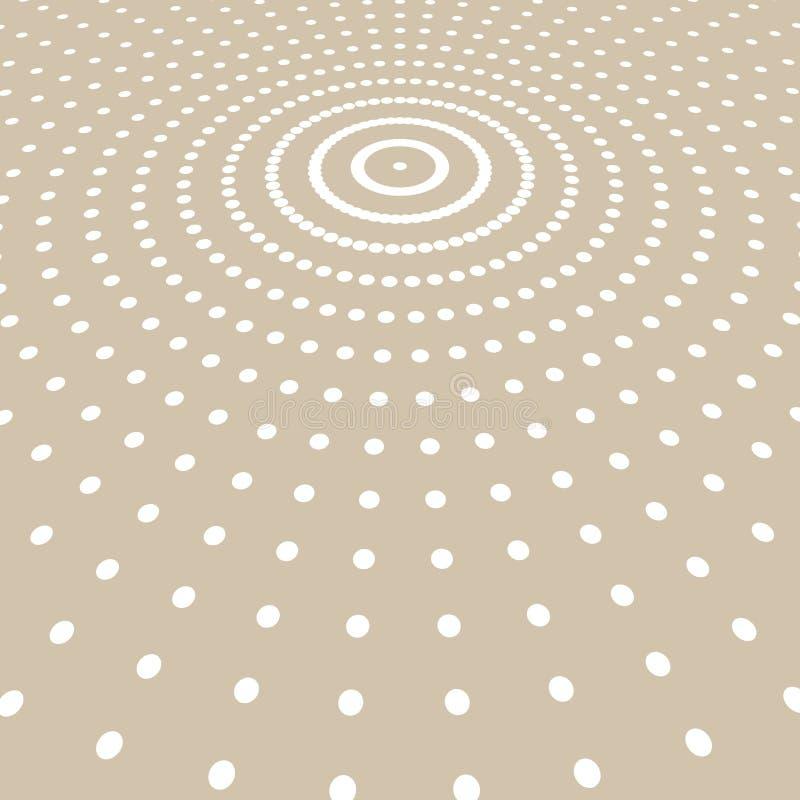 Abstrakcjonistyczny biały kolor kropek wzoru halftone promieniomierz na jasnobrązowym ilustracji