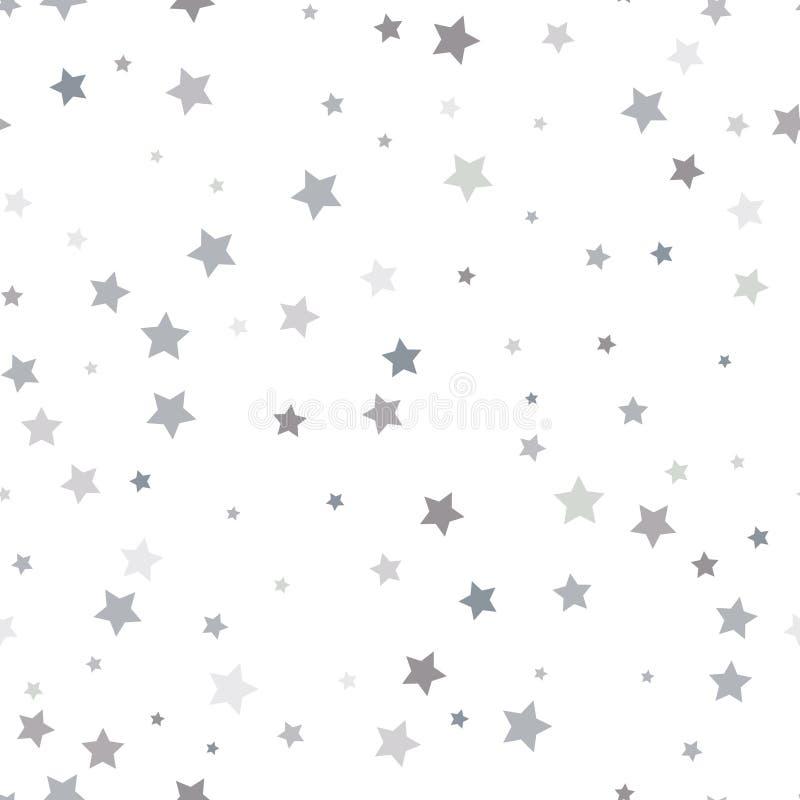 Abstrakcjonistyczny biały nowożytny bezszwowy wzór z srebnymi gwiazdami wektor ilustracja wektor