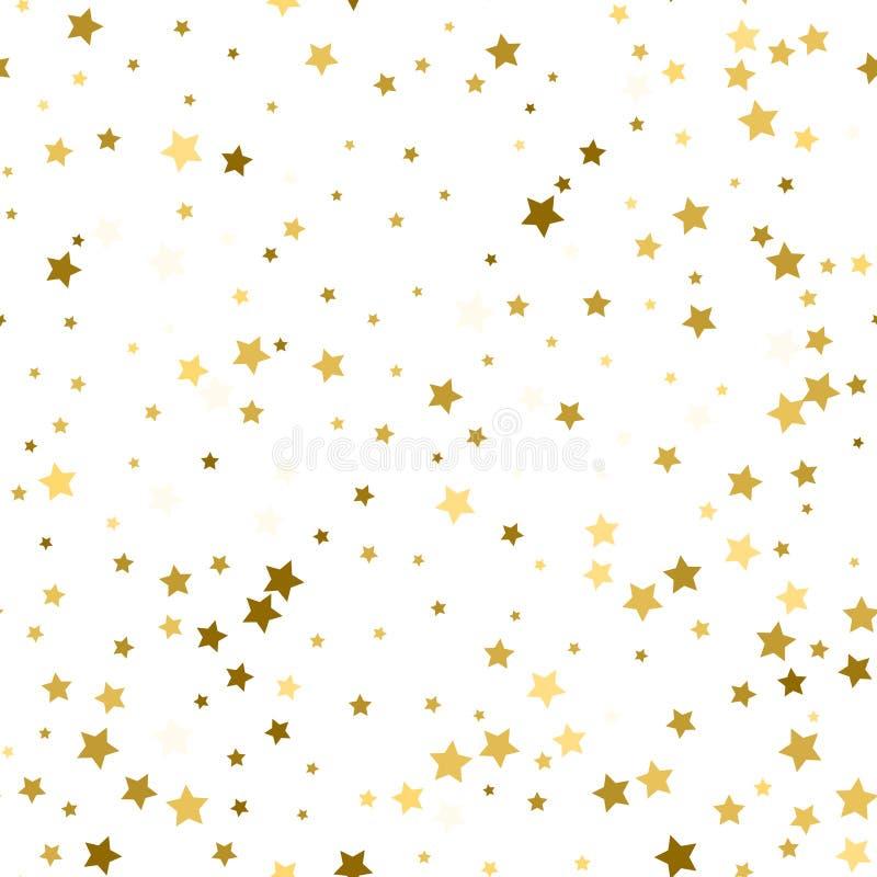 Abstrakcjonistyczny biały nowożytny bezszwowy wzór z złocistymi gwiazdami Wektor ja ilustracji