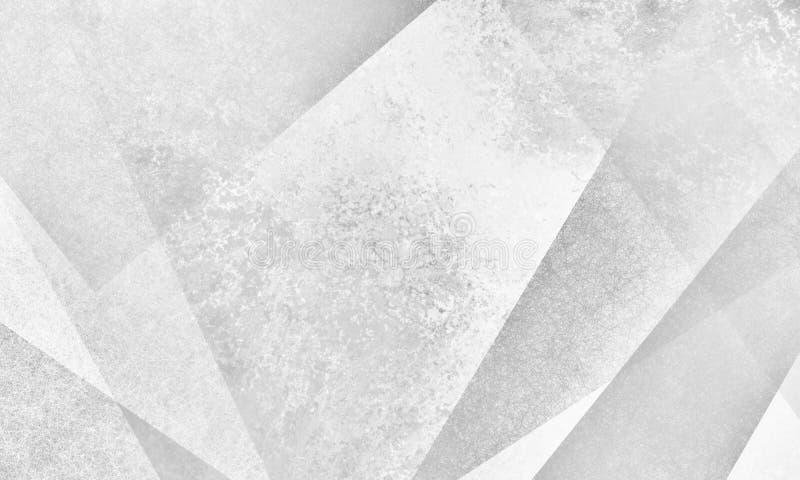 Abstrakcjonistyczny biały tło projekt z nowożytnymi kątami i warstwą kształtuje z szarą grunge teksturą royalty ilustracja