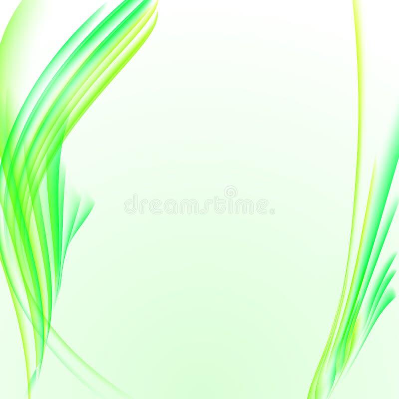 Abstrakcjonistyczny biały tło z żółtą zielenią paskował dymnego textur ilustracja wektor
