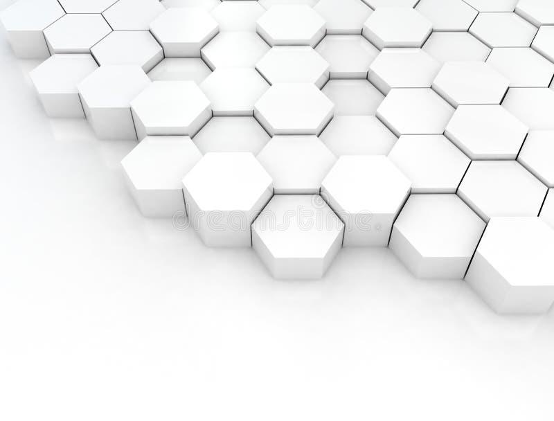 Abstrakcjonistyczny biały tło z sześciokątami ilustracja wektor