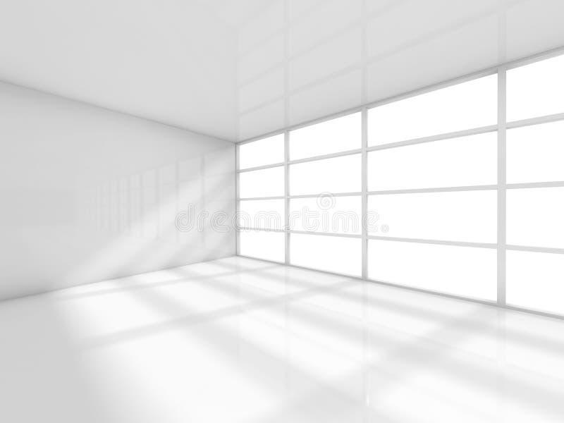 Abstrakcjonistyczny biały wnętrze, pusty biurowy pokój 3d royalty ilustracja