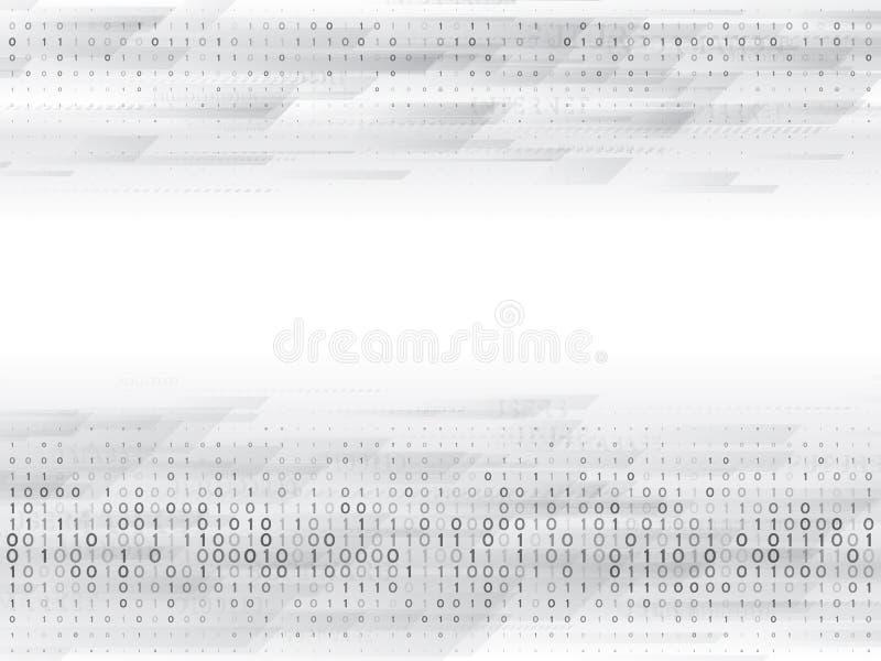 Abstrakcjonistyczny binarny komputerowy kod Cześć techniki technologia cyfrowa na popielatym tle ilustracja wektor