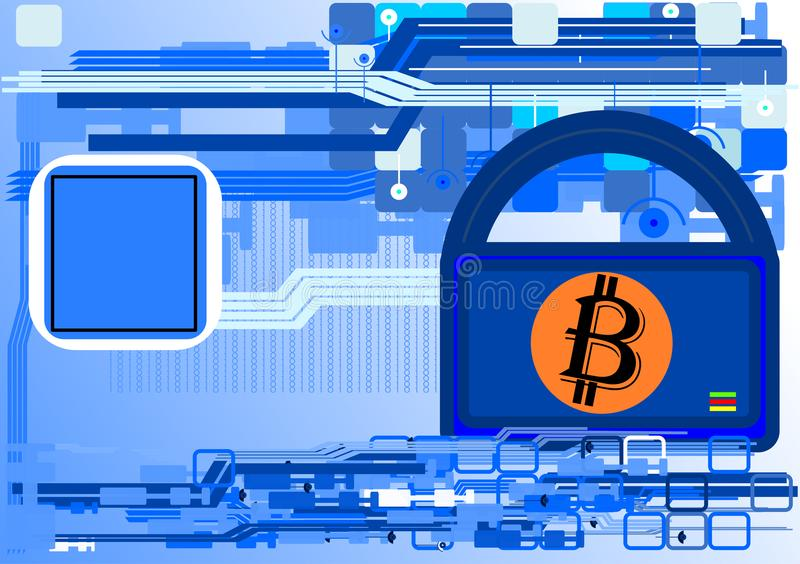 Abstrakcjonistyczny Bitcoin ochrony tło ilustracja wektor