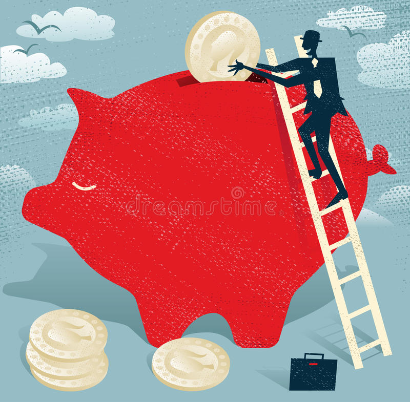 Abstrakcjonistyczny biznesmen ratuje pieniądze w prosiątko banku. ilustracja wektor