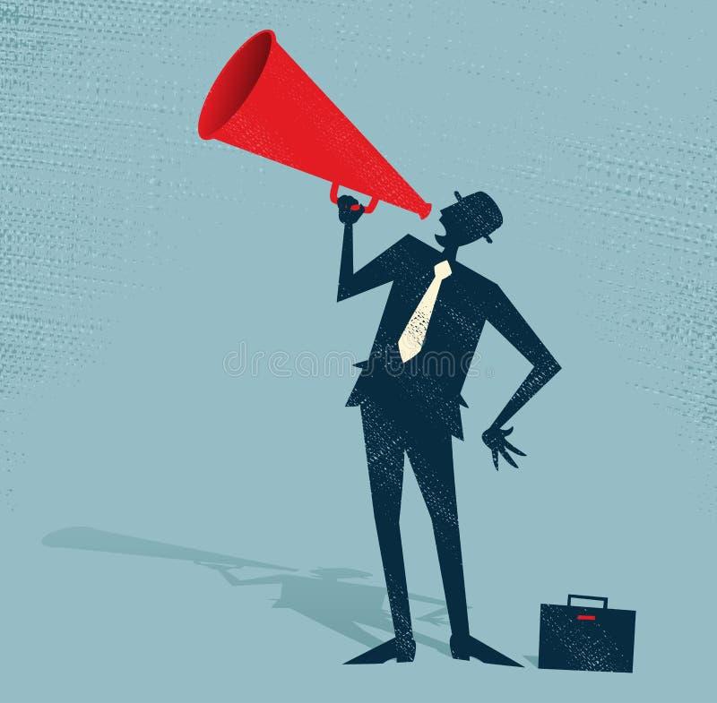 Abstrakcjonistyczny biznesmen z megafonem. ilustracji