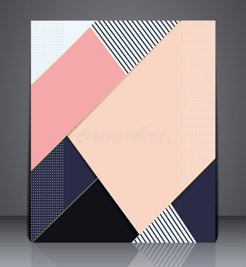 Abstrakcjonistyczny biznesowy broszurki ulotki projekt w A4 rozmiarze, układ pokrywy projekt w różowych kolorach ilustracja wektor