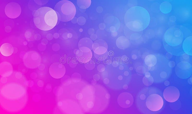 Abstrakcjonistyczny bokeh świateł skutek z purpurowym błękitnym tłem, bokeh tekstura, bokeh tło, wektorowa ilustracja royalty ilustracja
