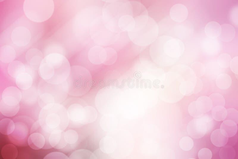 Abstrakcjonistyczny bokeh tło, menchie i biel, zdjęcia royalty free