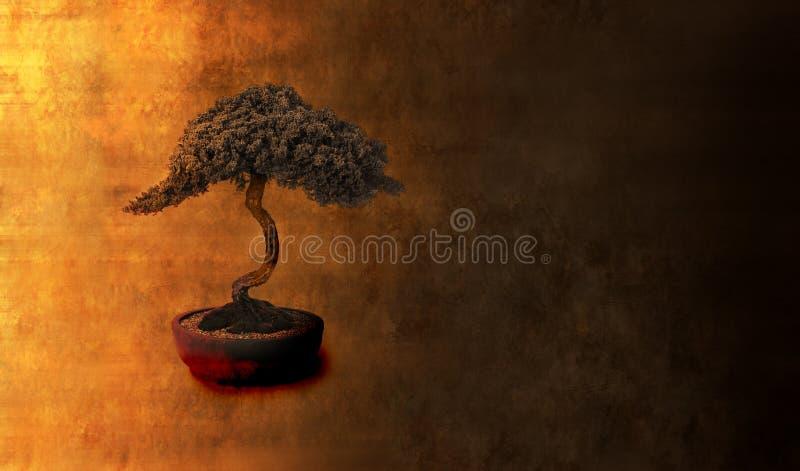 Abstrakcjonistyczny Bonsai Mądrości Tło ilustracja wektor