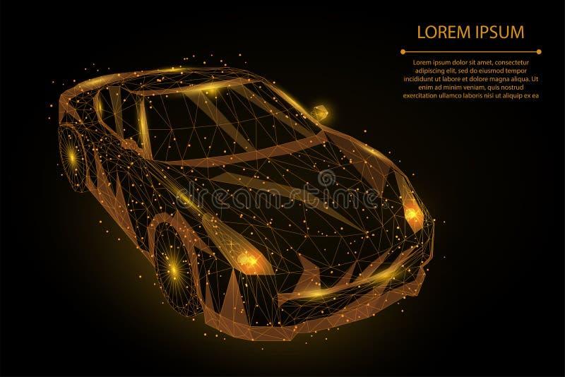 Abstrakcjonistyczny brei linii i punkt prędkości ruchu wysoki samochód Poligonalna niska poli- post przejażdżka, pojazd Roa ilustracji