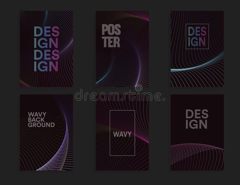 Abstrakcjonistyczny broszurki pokrywy projekta szablon ustawiający z falistym projektem na ciemnym tle, barwi falowego wektoru il royalty ilustracja