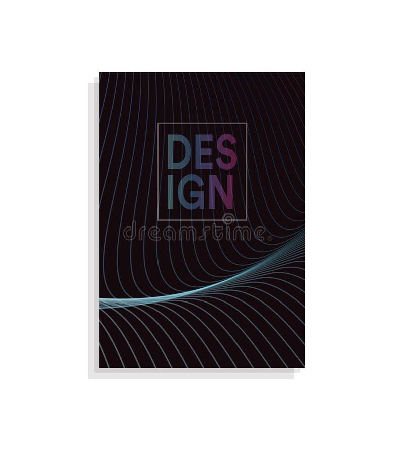 Abstrakcjonistyczny broszurki pokrywy projekta szablon z falistym linia projektem na ciemnym tle, barwi falowego wektoru ilustrac ilustracji