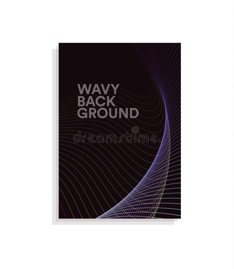 Abstrakcjonistyczny broszurki pokrywy projekta szablon z falistym linia projektem na ciemnym tle, barwi falowego wektoru ilustrac royalty ilustracja