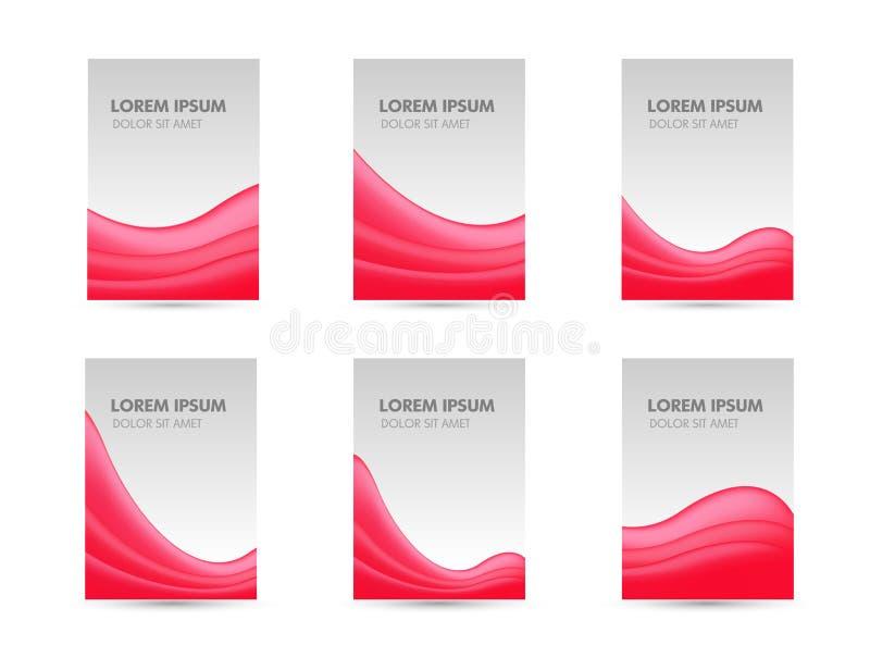 Abstrakcjonistyczny broszurki ulotki sztandaru projekt, czerwony falisty nowożytny olśniewający Wektorowy ilustracyjny szablon us ilustracji