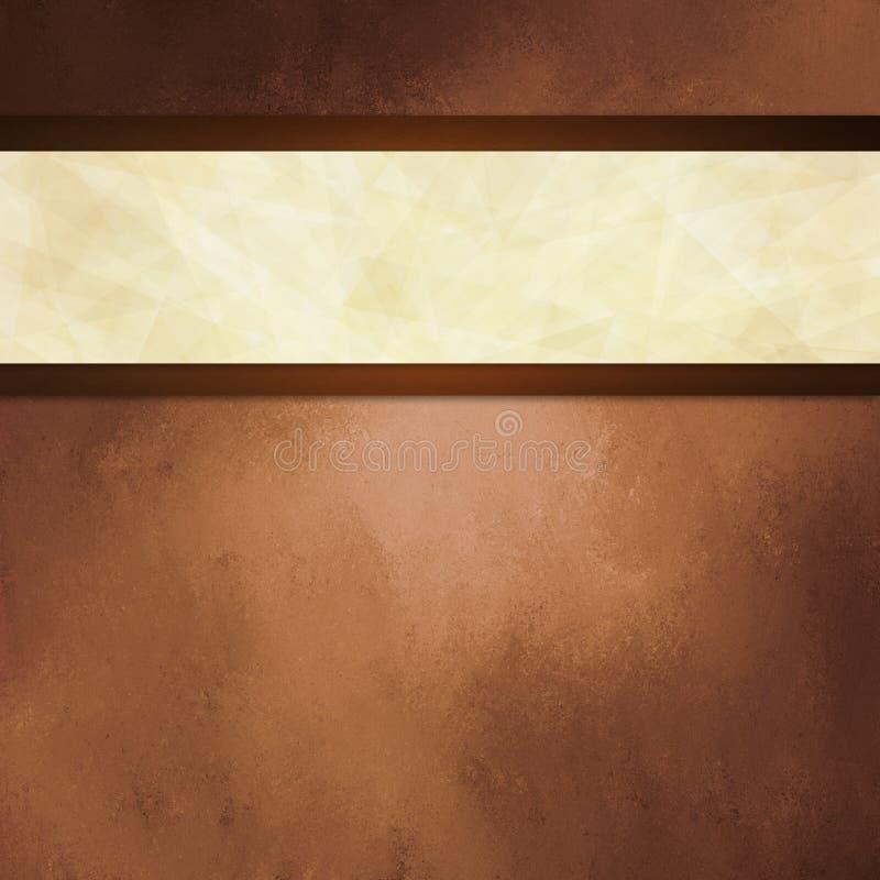 Abstrakcjonistyczny brown tło z białego faborku i ciemnego brązu granicą żyłuje obrazy stock